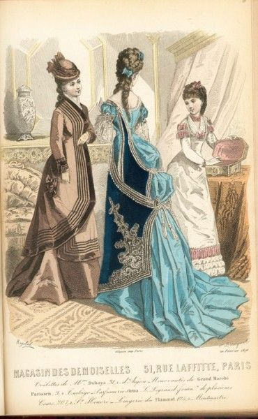 1876 Magasin des Demoiselles, outdoor dress and two evening gowns
