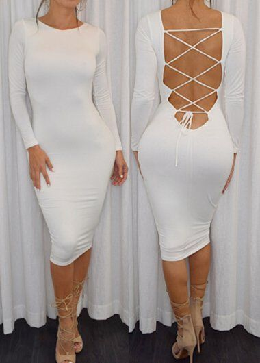 White long sleeve lace up bodycon dress | Women clothing sexy trendy urban stylish going out