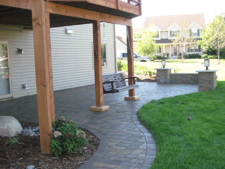 8 best images about landscape backyard walkout on for Walkout basement patio ideas