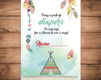 Acuarela de la catcher Dreamcatcher boho boleto de rifa en pañales para imprimir bebé ducha invitación plumas sueño bohemio