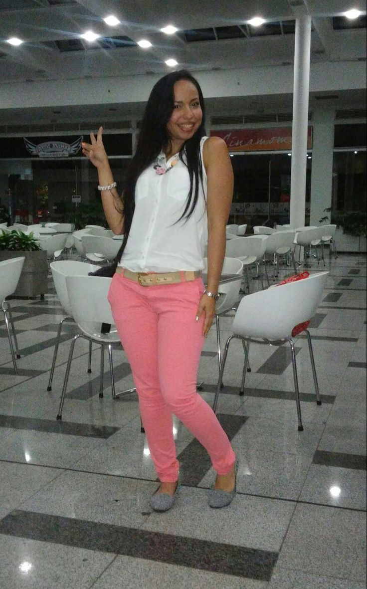 #casual #coral #blanco #outfit