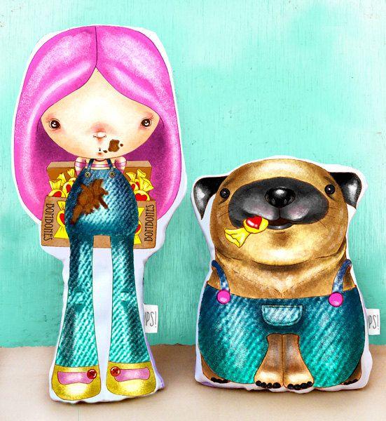 Conjunto de Muñecos (Nena y Perro)  - Pack girl and dog de JessicaIlustradora en Etsy