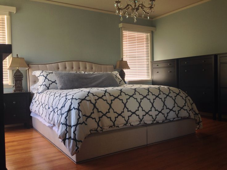 Master Bedroom Antique Chandelier Custom Upholstered Cal King Platform Bed Ah Beard Custom
