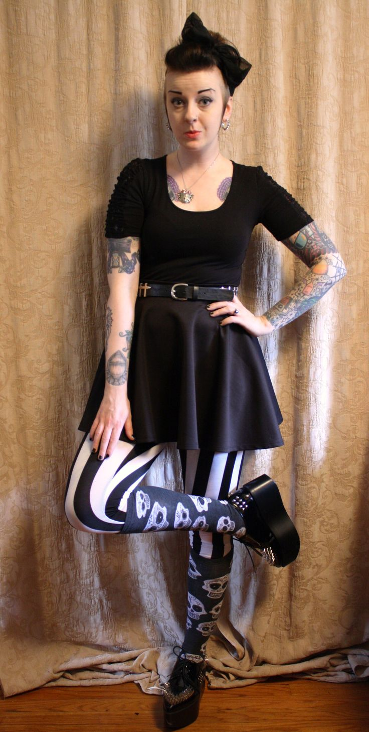 Meagan from Coffin Kitsch (www.coffinkitsh.com) in our Big Muertos Skull socks - http://theasockalypse.com/shop/big-muertos-skull-knee-high-sock/