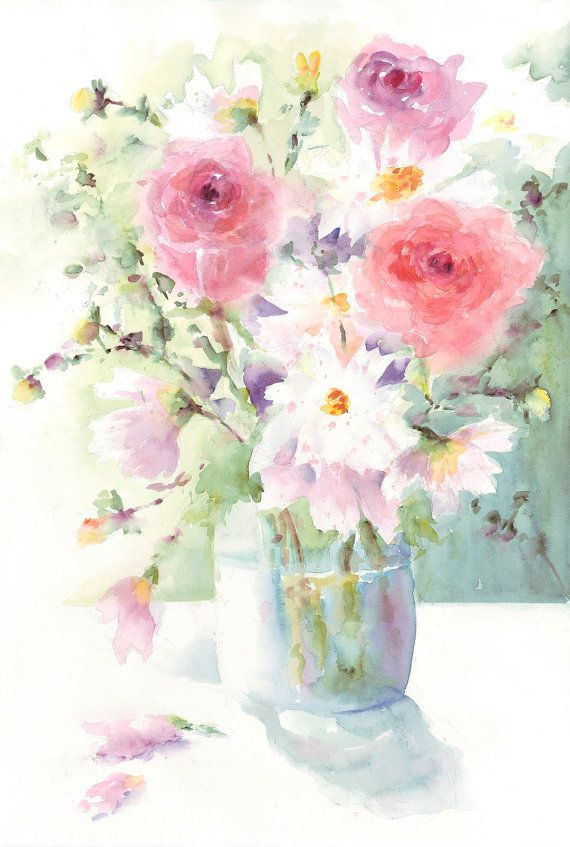 Roses and cosmos spring bouquet art print of original for Spring flowers watercolor