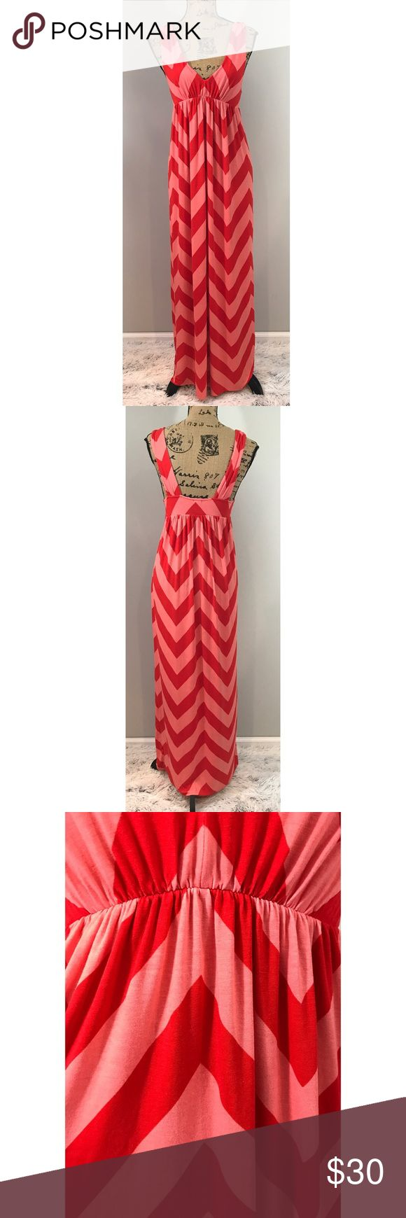 "JCrew orange Chevron Maxi dress JCrew. Medium. Fits like Small. V-neck, chevron maxi dress in coral and orange. Elastic under bust. Has stretch. Sold out online. Retail $84.50. B: 17"", Under bust: 13""-18"", H: 23"" L: 57"" J. Crew Dresses Maxi"