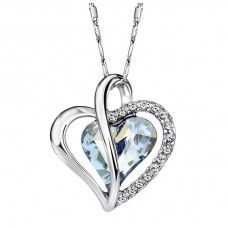 Crystal Blue Shade Heart Necklace. Made with Swarovski elements