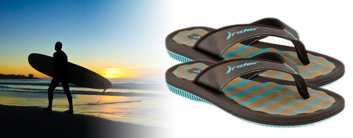 """Dunas IV WM - Teal/Chocolate A trendy take on a classic Rider style, this relaxed sandal features a casual, synthetic-leather upper paired with a plaid insole for style, and a cushioned EVA footbed with an extra-soft toe piece for comfort, making it """"the most popular casual sandals"""" for men, women and kids in the Rider line."""