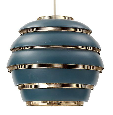 An Alvar aalto 'A 331 Beehive' pendant lamp, Valaistustyö Ky, Finland.  Globular shade of blue lacquered sheet metak in five steps with perforated brass rings. Marked VALAISTUSTYÖ A331. Height 30 cm, diameter 33 cm.  The lower brass ring loose.
