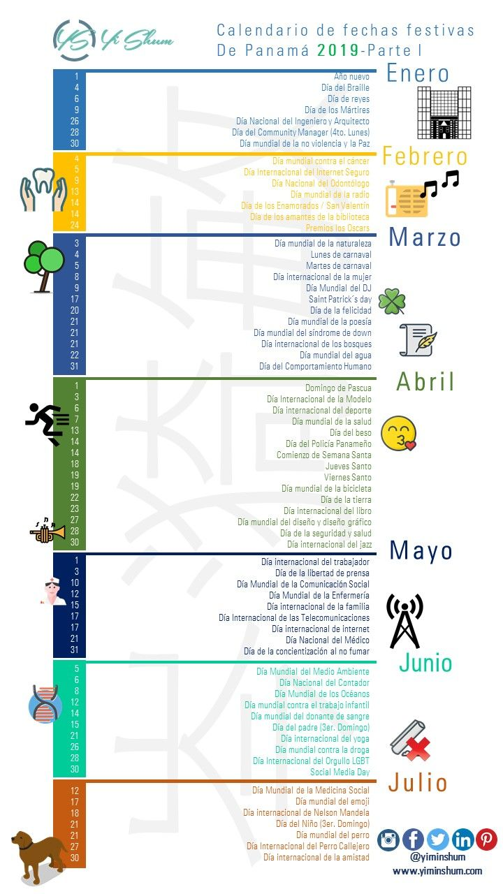 Calendario Festivo.Calendario De Fechas Festivas De Panama 2019 Tutoriales