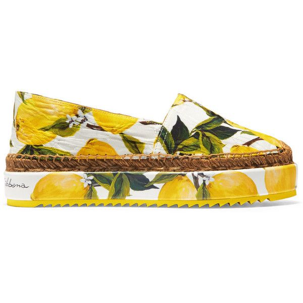 Dolce & Gabbana Printed brocade espadrilles (£365) ❤ liked on Polyvore featuring shoes, sandals, flats, yellow, slip on shoes, platform sandals, yellow sandals, espadrille flats and flat platform shoes