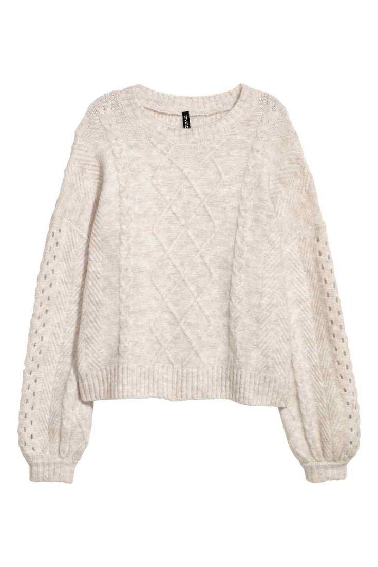 Pulover tricotat cu torsade - Bej-deschis - FEMEI | H&M RO 1