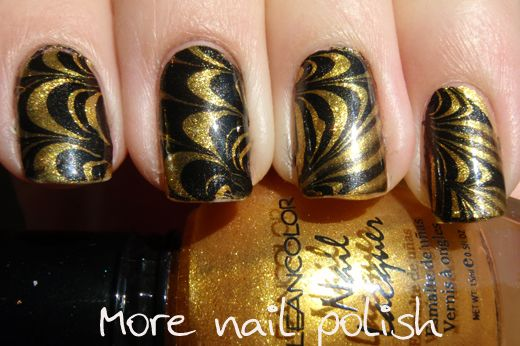 Black and Gold dry water marble