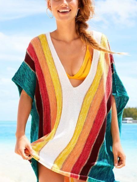 Rainbow V-Neck Loose Sweater 15
