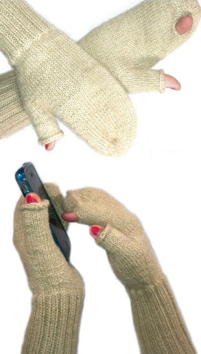 iMitt© Texting Mitten knit by a Bolivian woman's cooperative.