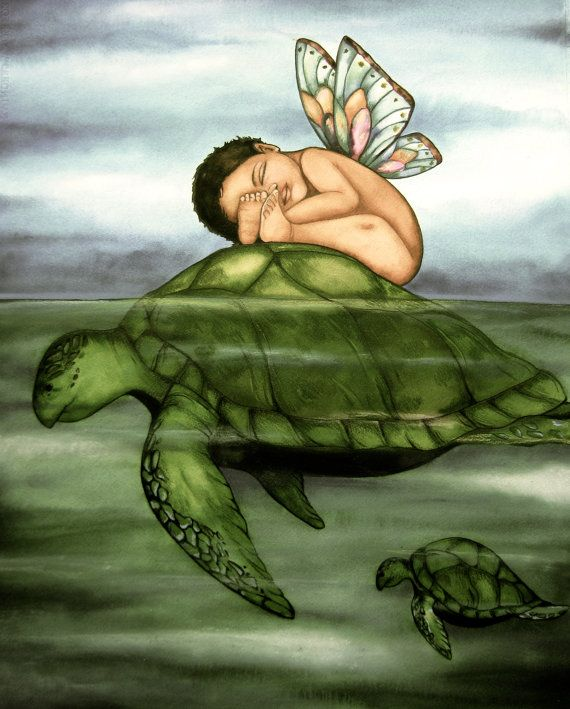 baby and turtle art print