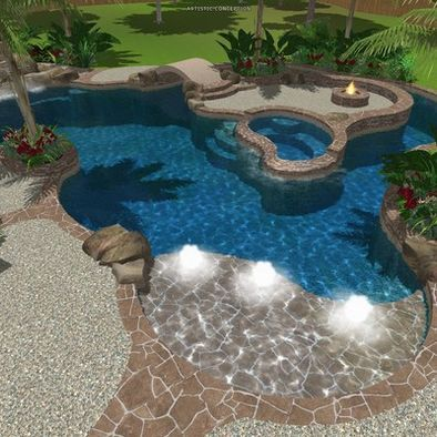 Tropical Pool Design. Maybe someday!! Also a great site with lots of different pool layouts.