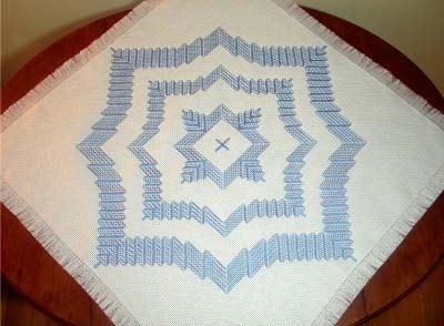 Morning Star Tablecloth Blue on white by SwedishWeaveDesigns, 24.00