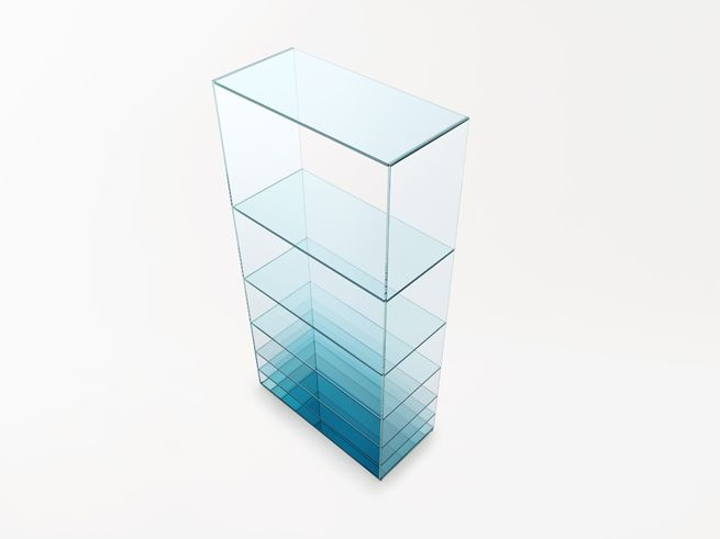 deep-sea 2013.04 for Glas Italia A collection composed of a low table and shelf for glass manufacturer Glasitalia, known for their superb technical manipulation of colour, cut and adhesion for sheet glass.