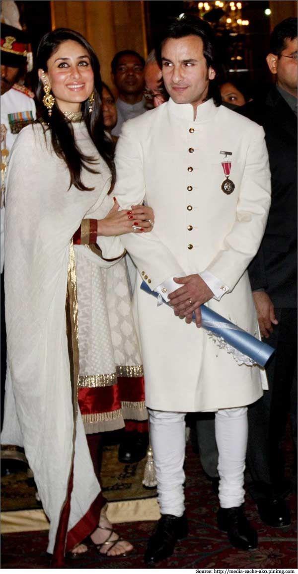 Saif Ali Khan royal white bandhgala Raghavendra Rathore.  #kareenakapoor #saifalikhan #designerwear