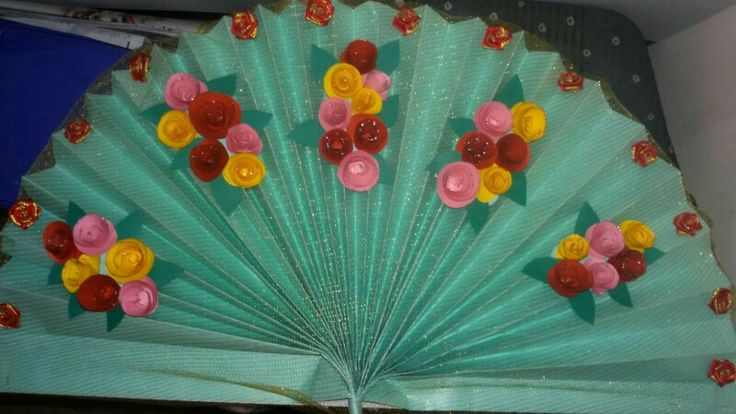 Hand made Fan fold back drop decoration All set to welcome Lord Ganesh (Ganpati Bappa Morya) This is for celebrating Indian festival called Ganesh Chaturthi Celebrations