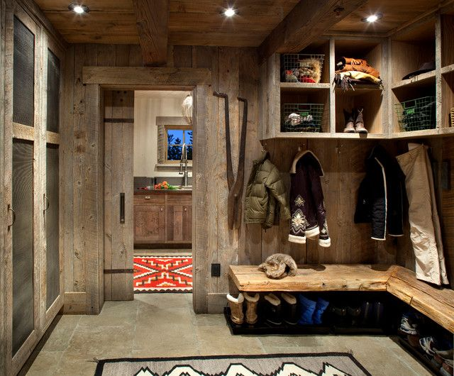 Gorgoeus rustic entry interior with wooden garage storage for Cool garage interior designs