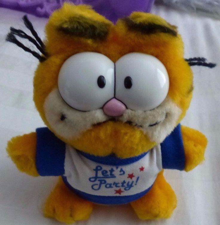 "Vintage 1981 Garfield Cat ""Let's Party"" Rare Version 6"" Plush Stuffed Animal  #Dakin"