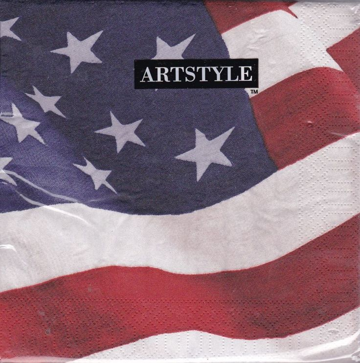 American Vintage Flag Paper 120 Lunch Napkins 13 by 13 Inches 3 Ply Artstyle  #ArtStyle