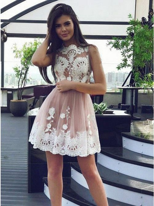 21198b48059a A-Line Bateau Above-Knee Blush Tulle Sleeveless Homecoming Dress with  Appliques