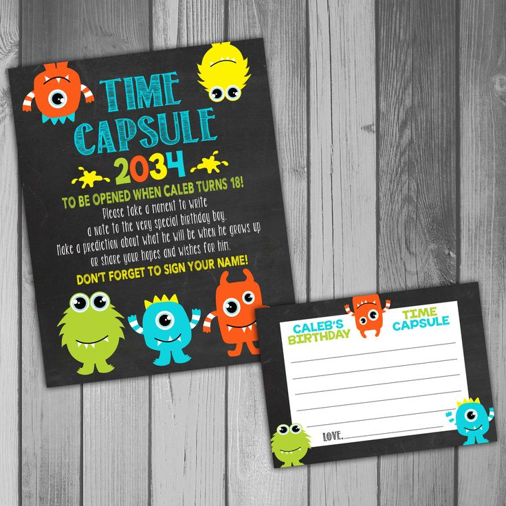 invitation words forst birthday party%0A Time Capsule First Birthday Printable Time Capsule Birthday Time Capsule  Monster Birthday Party Monster Party  st