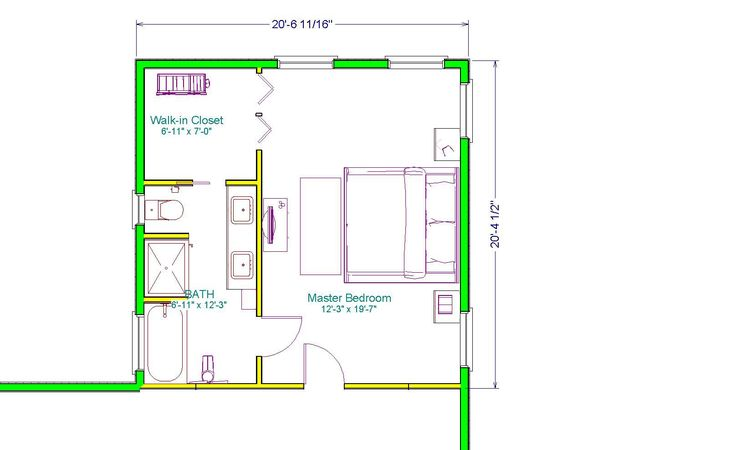 master suite plans with dimensions | ... out master suite addition this 20 x 20 master suite includes a walk
