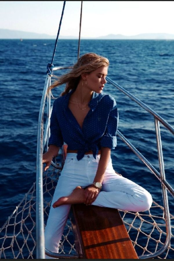 Nautical Sailing Fashion - She needs a shirt underneath the blue one, but besides that I like the look.