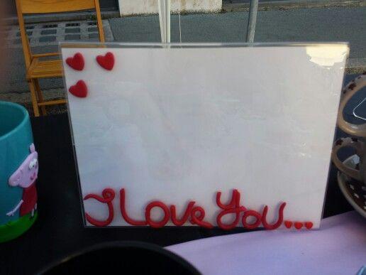 """Portafoto """"I Love You""""  in fimo!"""
