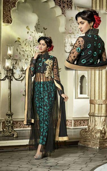 Picture of Mystical Green and Black Designer Salwar Kameez