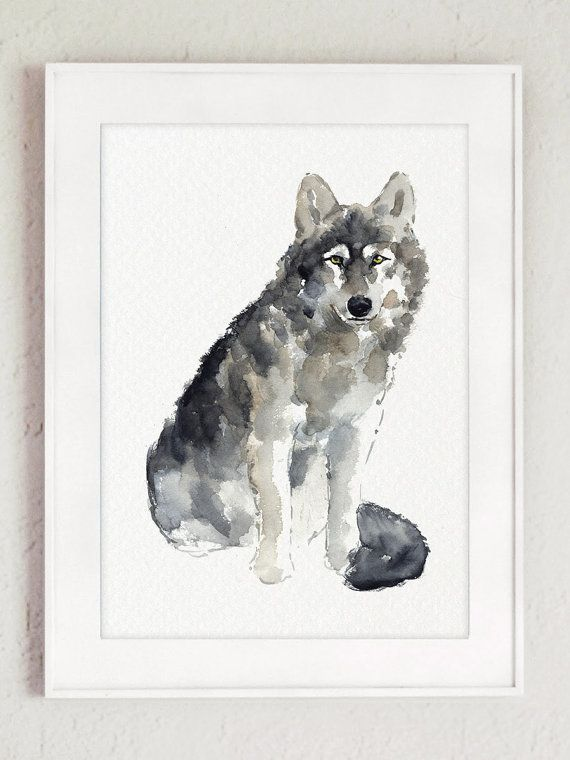 Grey Wolf Watercolor Painting. Abstract Animal Kids Room Decor. Wolves Art Print Home Decor. Brown and Gray Wildlife Poster For Baby Room. Woodland Animals Wall Hanging.  Type of paper: Prints up to (42x29,7cm) 11x16 inch size are printed on Archival Acid Free 270g/m2 White Watercolor Fine Art Paper and retains the look of original painting. Larger prints are printed on 200g/m2 White Semi-Glossy Poster Paper.  Colors: Archival high-quality 10-cartridge Canon Lucia Pigment Inks with ...