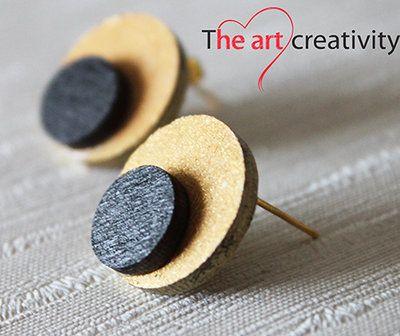 Orecchini in legno dipinti a mano. #handmade #legno #MissHobby #orecchinialobo #oro #nero