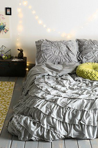 Urban outfitters Bow Ruffle-Medallion Duvet Cover- not sure what my obsession with ruffled bedding is lately but I love this