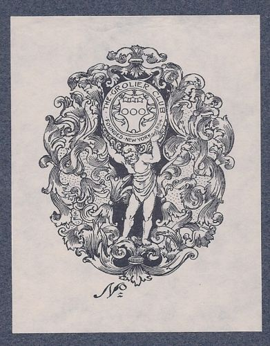 Bookplate by George Wharton Edwards for the Grolier Club, 1904