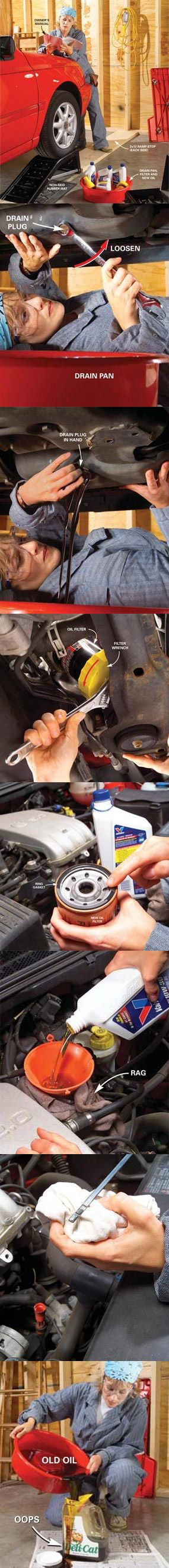 Regular oil changes prolong the life of your car. Save time and money by doing this 20-minute job yourself. And you'll know that it was done right! Learn how to change oil in your car at http://www.familyhandyman.com/DIY-Projects/Car---Truck/Oil-Change/how-to-change-car-oil