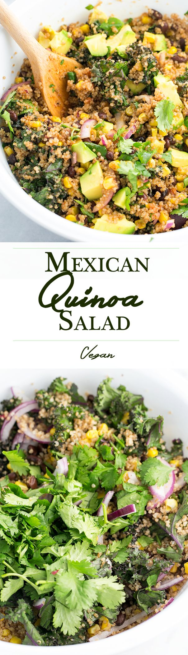Vegan Mexican Quinoa and Kale salad with a Coriander/Cumin and Lime Dressing.