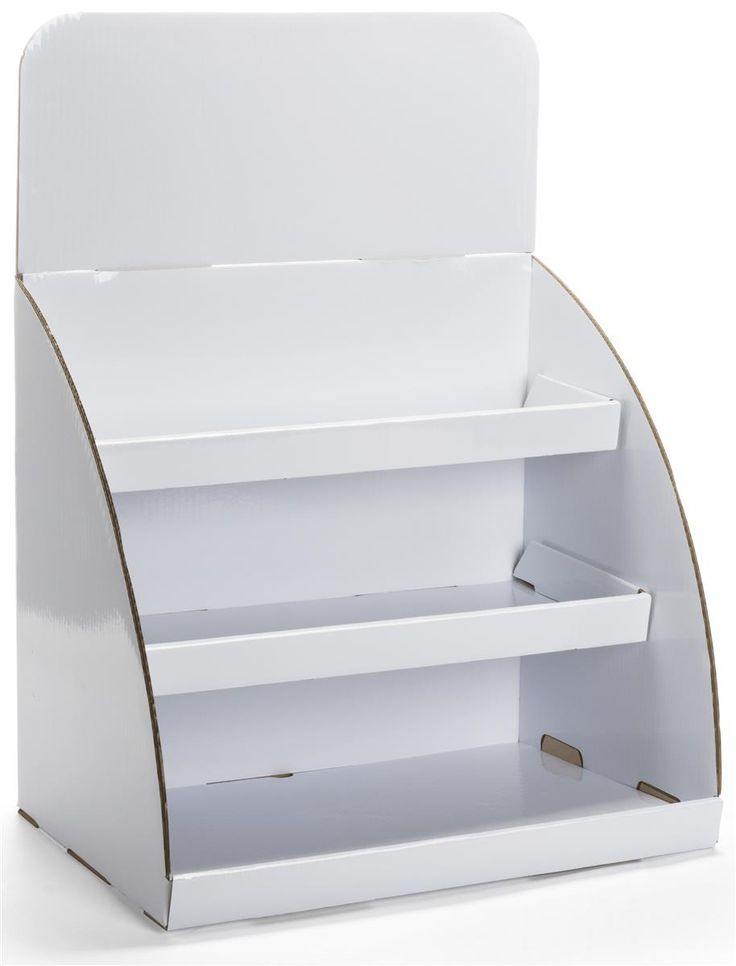 Tabletop Cardboard Display | Shinny White with Removable Header