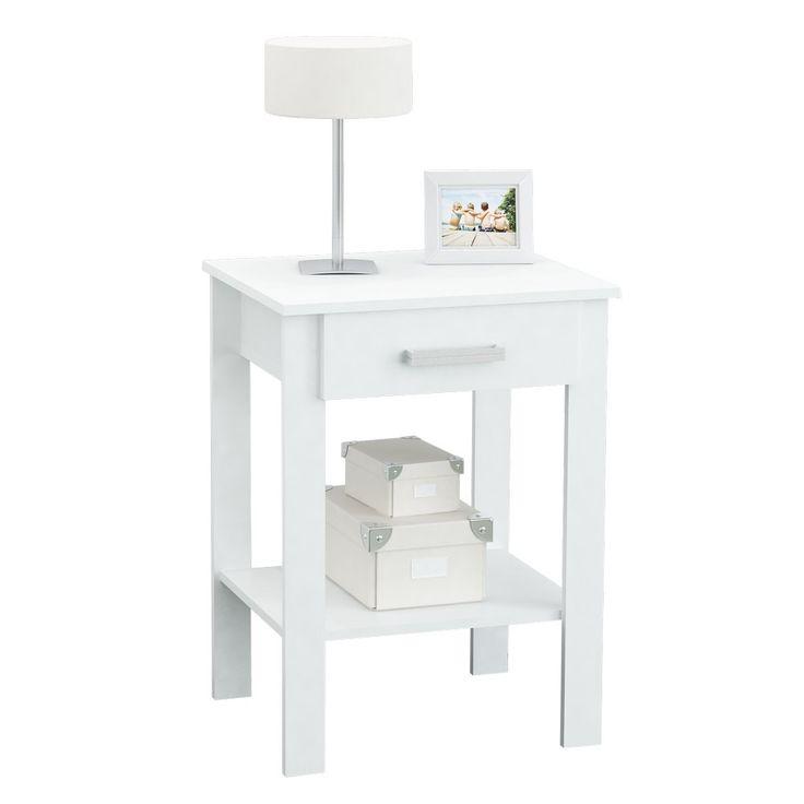 mesa de luz centro estant de melamina con cajn blanco en