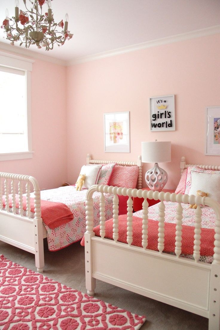 Kids room design for two girls - Shared Girls Bedroom Is A Mix Of Pinks And Corals A Surpising Great Combination Decorating Kids