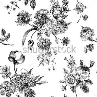 seamless-vector-vintage-pattern-with-victorian-bouquet-of-black-flowers-on-a-white-background-garden-roses-tulips-delphinium_216099868.jpg (380×380)