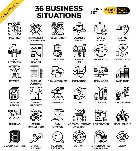 36 Business Situations concept icons - Icons