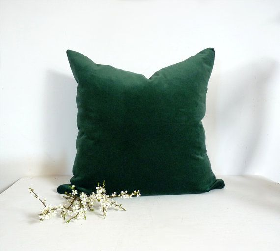 Dark Green Velvet Pillow Case // Forest Green by LiveLoveSmile