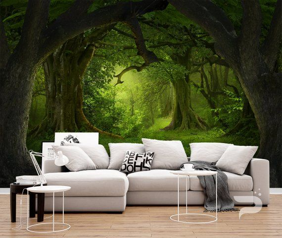 Mystical Forest Wall Mural Magical Forest Wallpaper Large Etsy Large Wall Murals Forest Wall Mural Forest Wallpaper