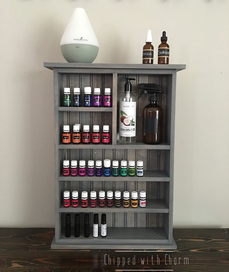 Essential Oil Wall Shelf, Essential Oil Storage, Wall Shelf, Bathroom Shelf, Essential Oil Cabinet by ChippedWithCharm on Etsy https://www.etsy.com/listing/285874851/essential-oil-wall-shelf-essential-oil