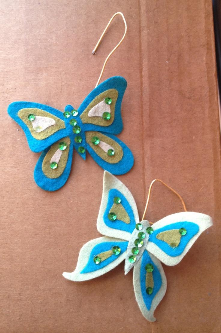 Felt butterflies with sequins