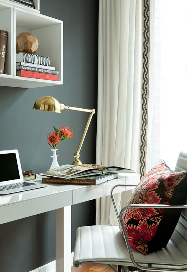 desk lamp, wall color, shelving: Wall Colors, Curtains, Offices Spaces, Work Spaces, Grey Wall, Workspaces, Gray Wall, Home Offices, Dark Wall